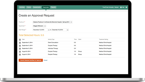 Time2Track allows students to request approvals from supervisors